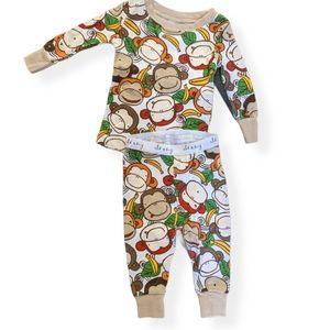 Adorable monkey print snug fit pajama set